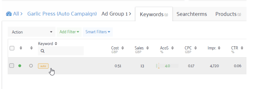 automatic campaign keyword research amazon