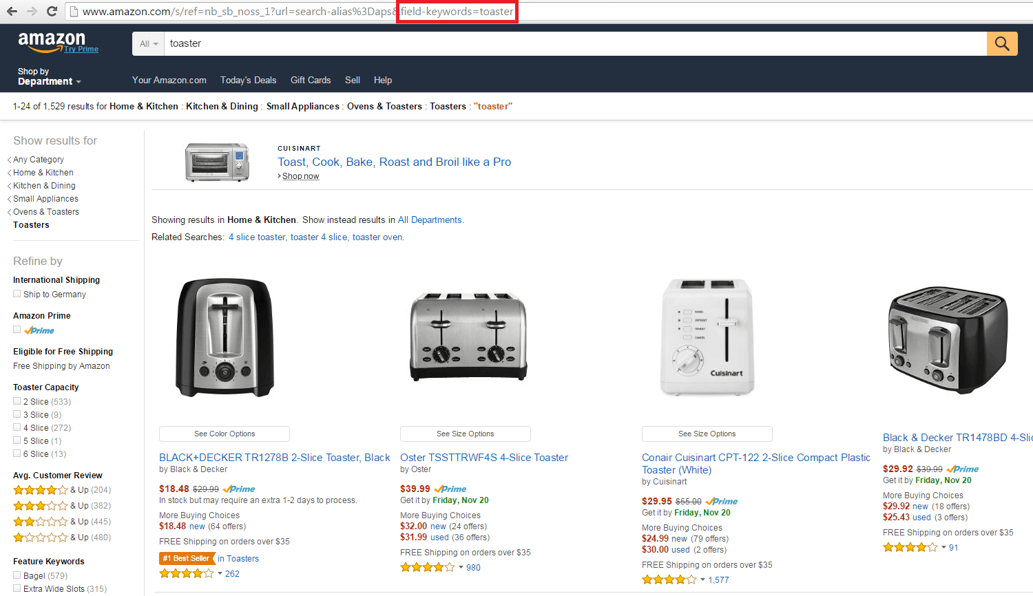 Amazon prouct search results toasters