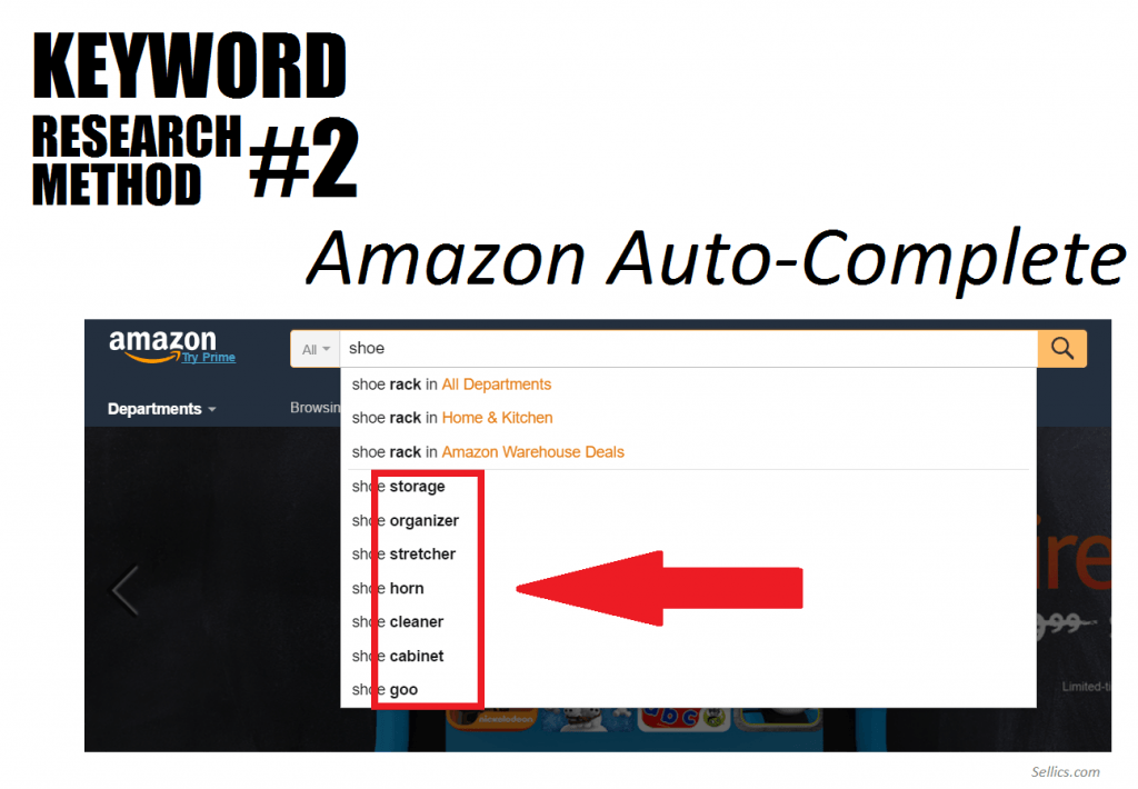 keyword research method 2 - amazon auto-complete