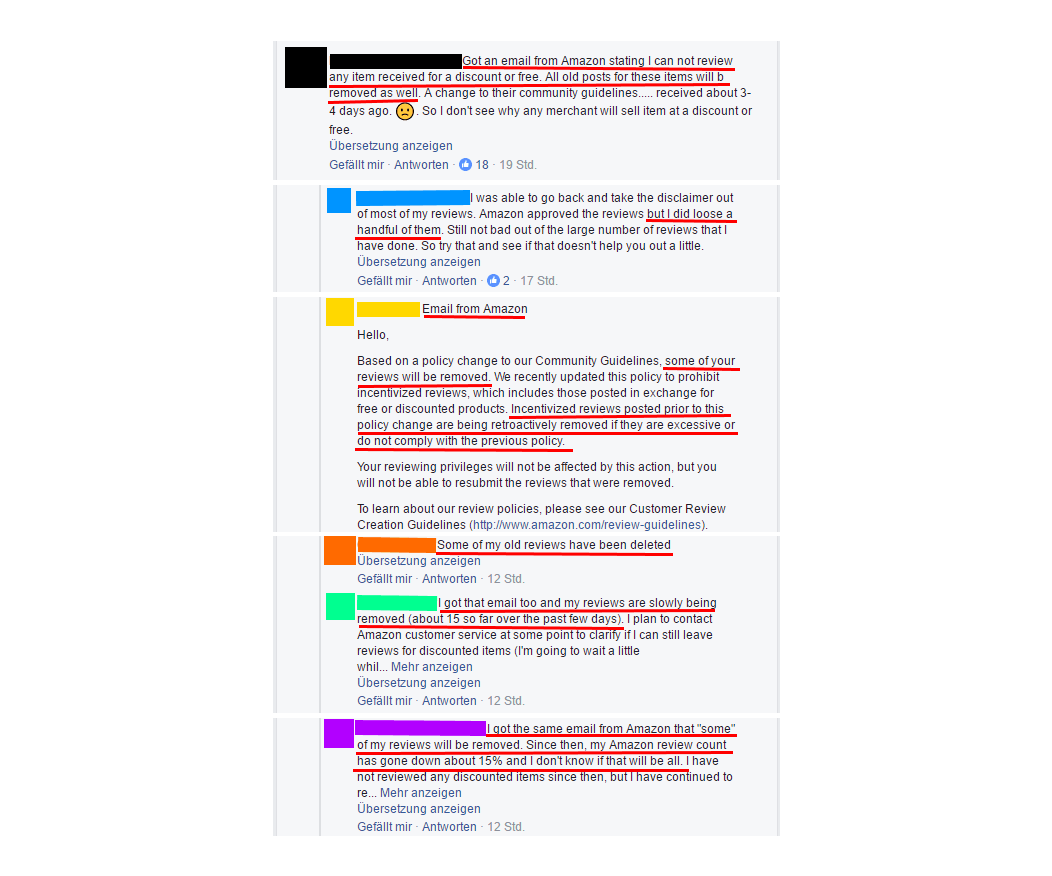 Facebook thread discussing Amazon deletion of incentivized reviews