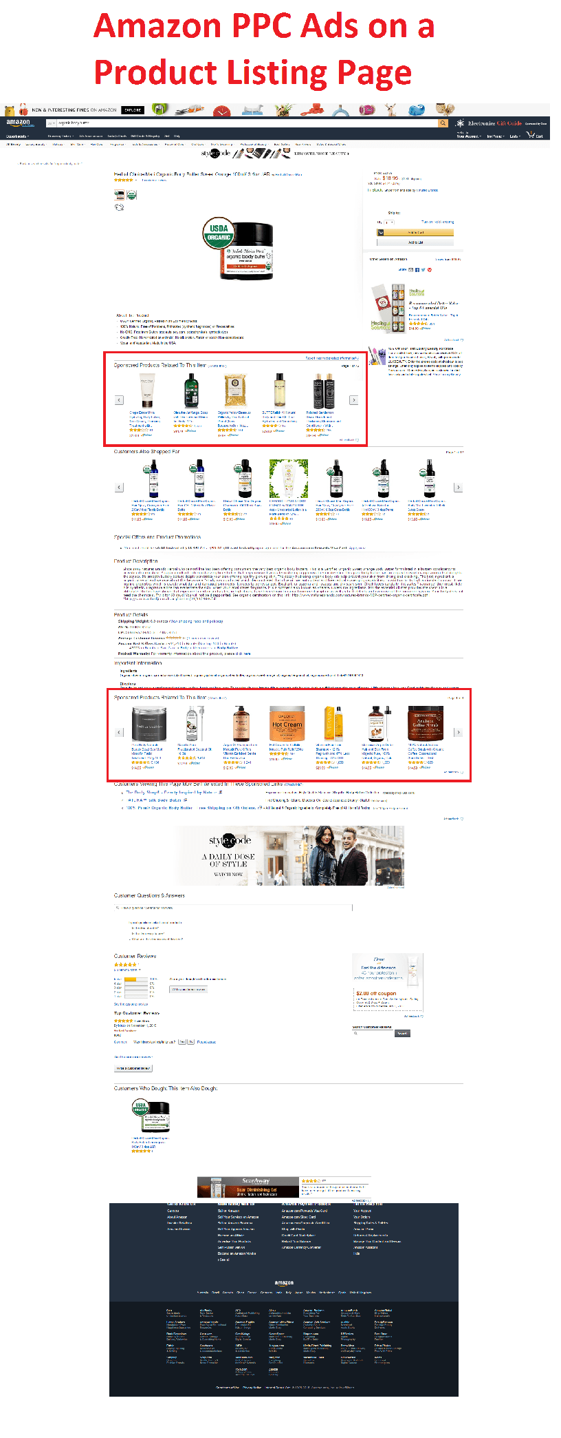 Amazon PPC Ads in Product Listing Page