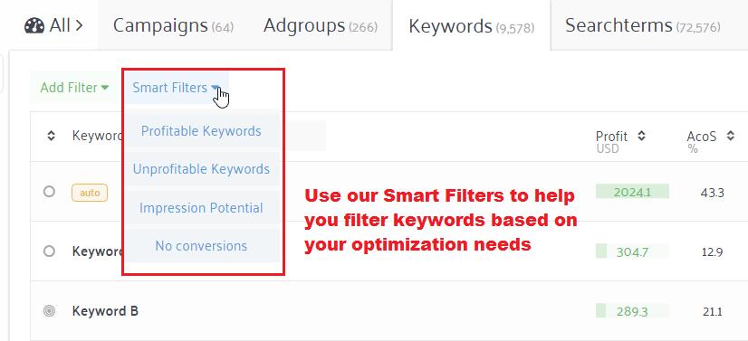 smart filter Amazon keyword optimization