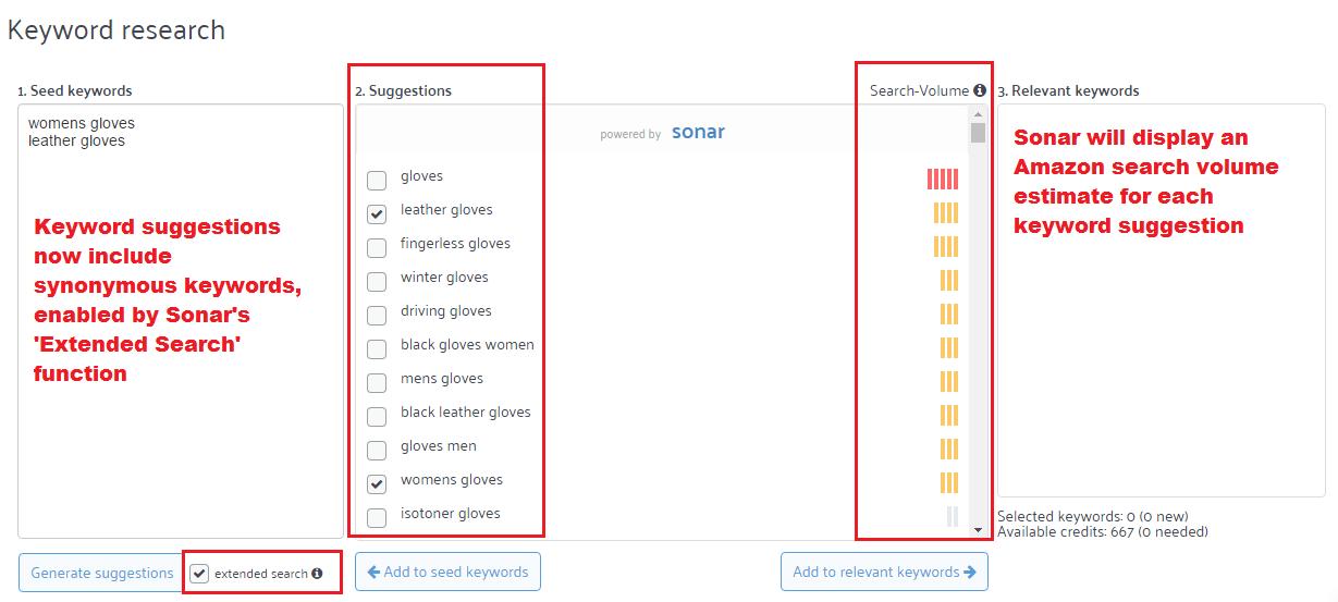 Amazon keyword research with sonar