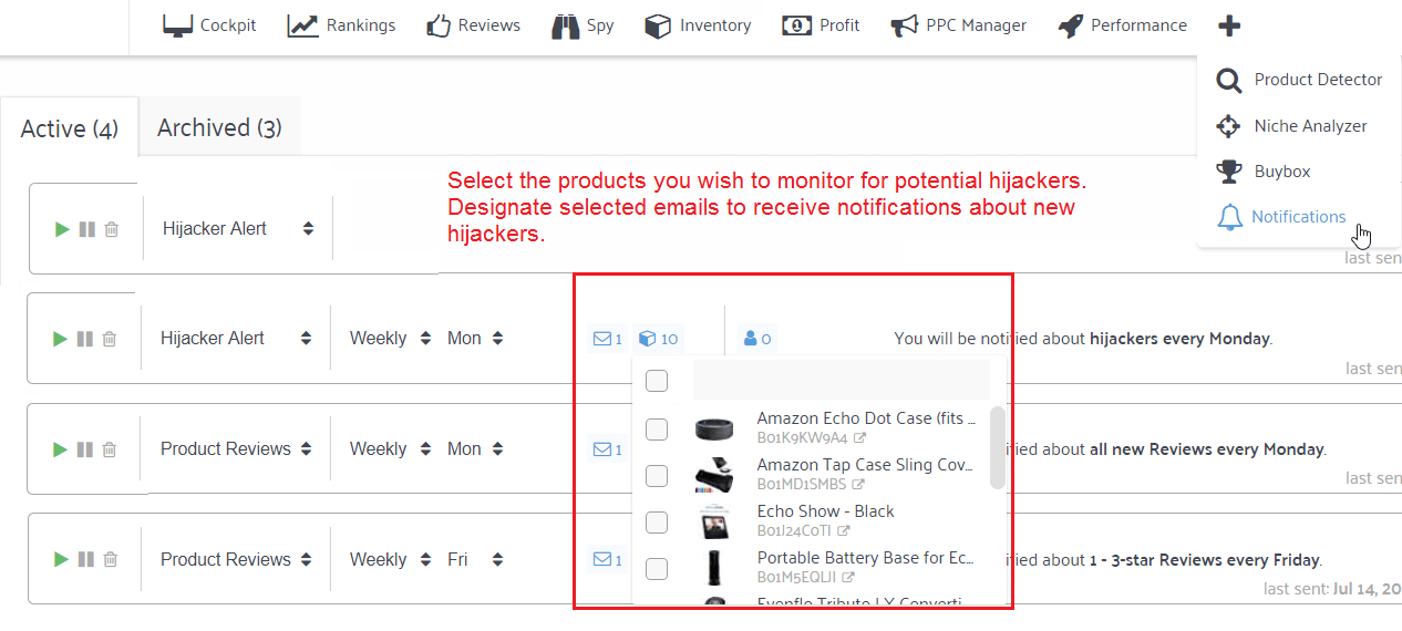 amazon hijacker email notifications