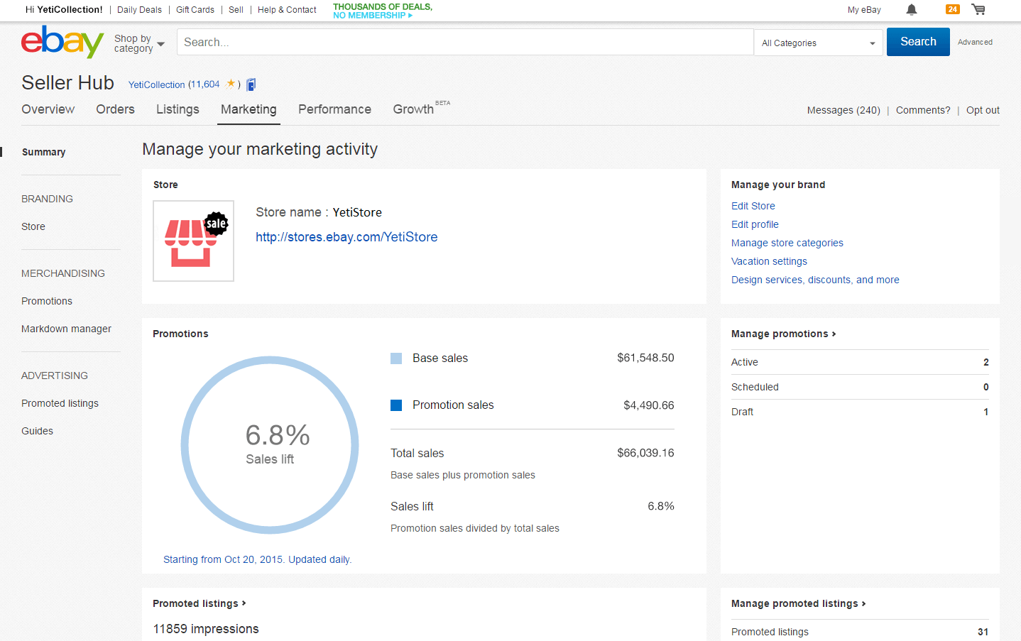 amazon ebay comparison marketing seller central seller hub