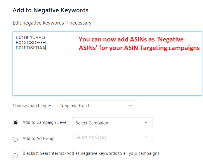 add asins to negative sponsored products