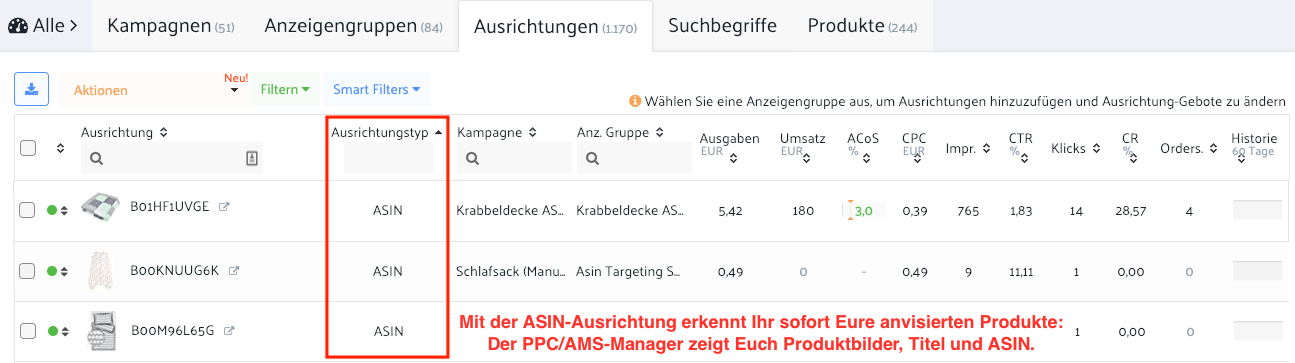 asin ausrichtungstyp targeting amazon product produkt