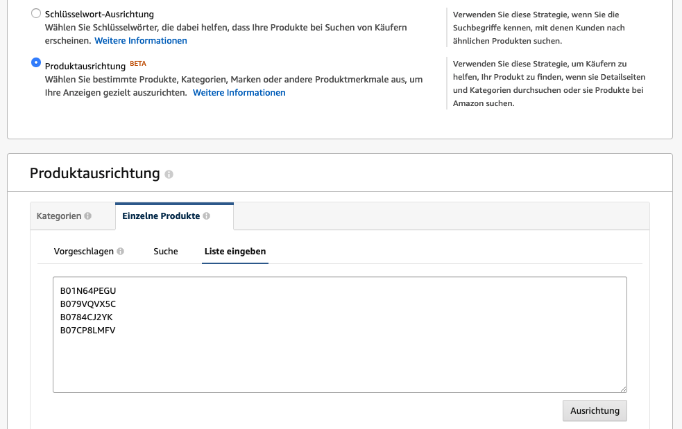 produkt targeting ausrichtung seller amazon strategie asin product