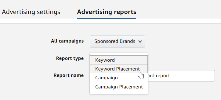 amazon placement report sponsored brands