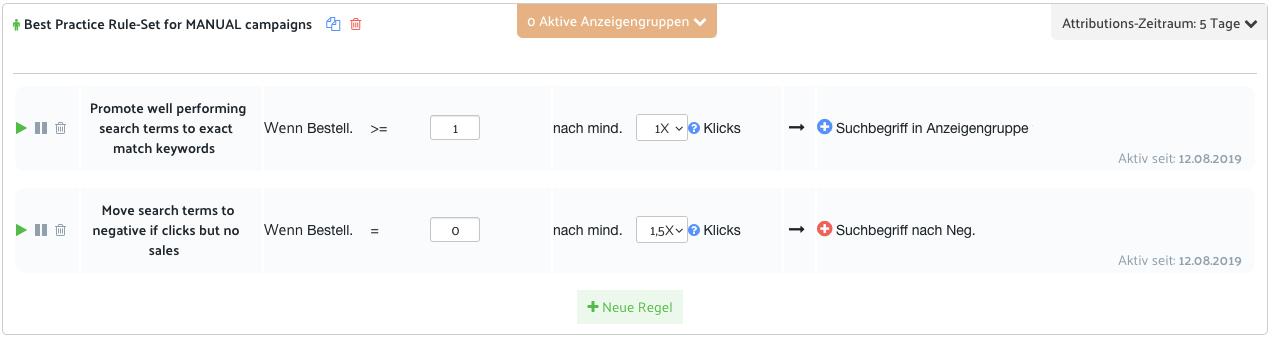 Best Practice Regel set für Manuelle Kampagnen automatisches Keywordharvesting für Amazon PPC