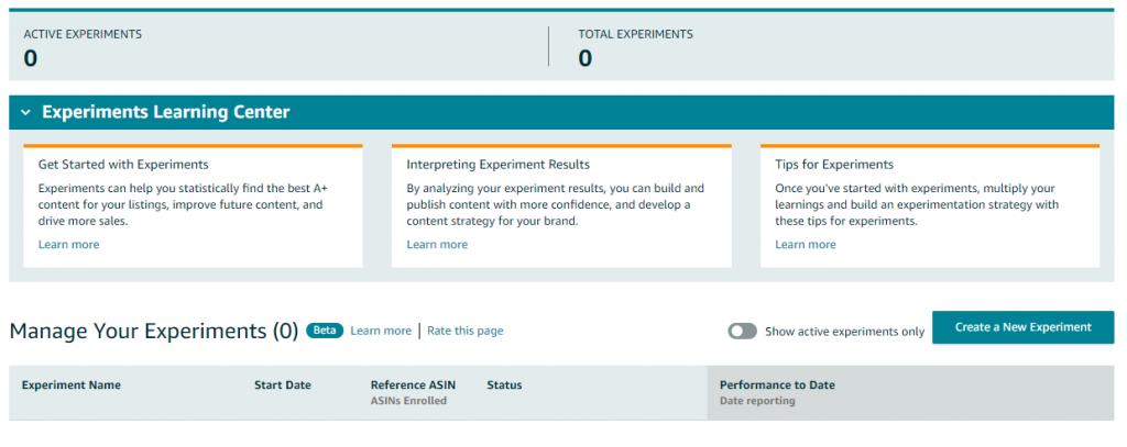amazon a+ content, a+ content experiments, manage your experiments