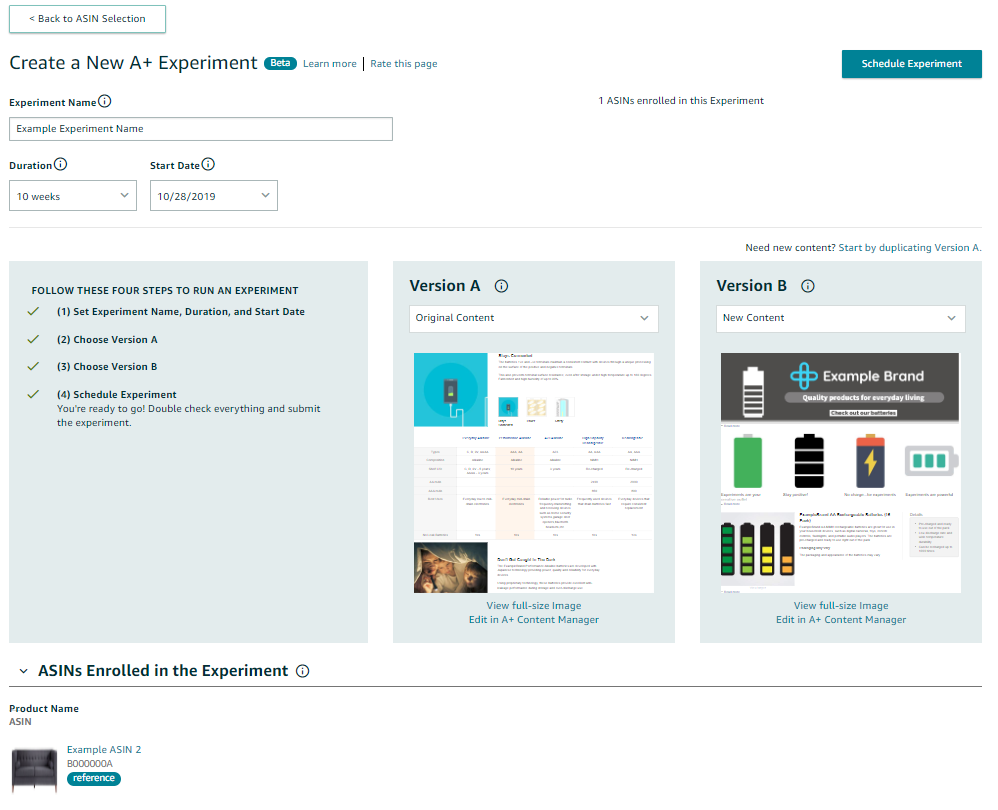 amazon a+ content, manage your experiments, amazon ebc