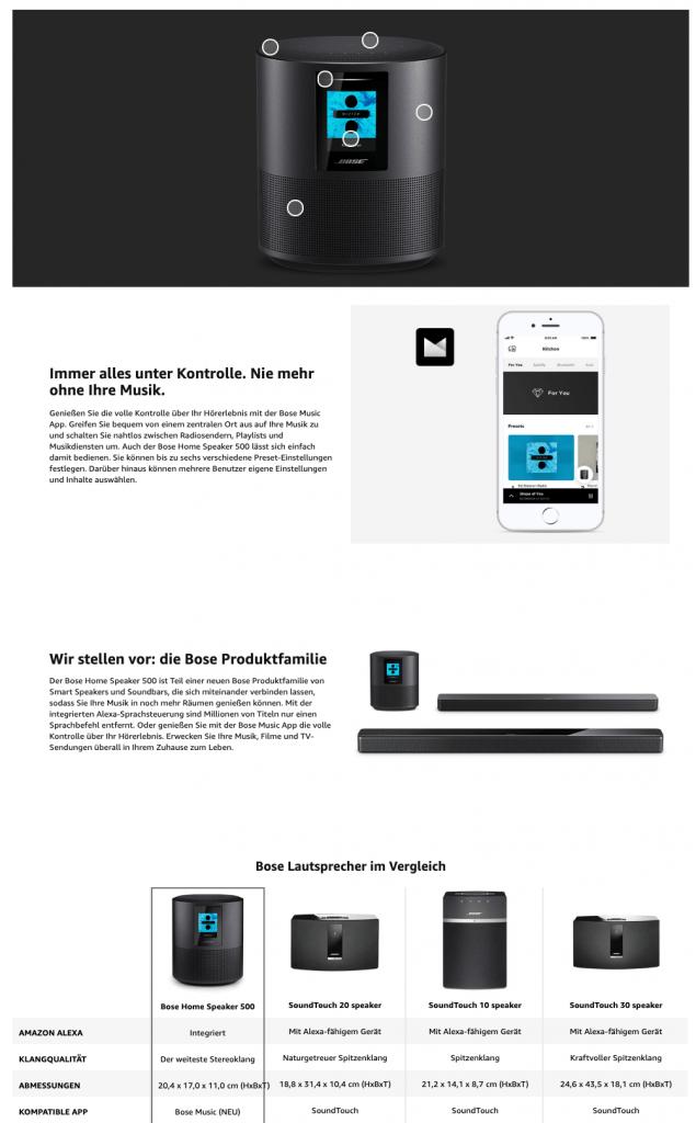 Amazon Brand Registry A+ Content Beispiel Bose