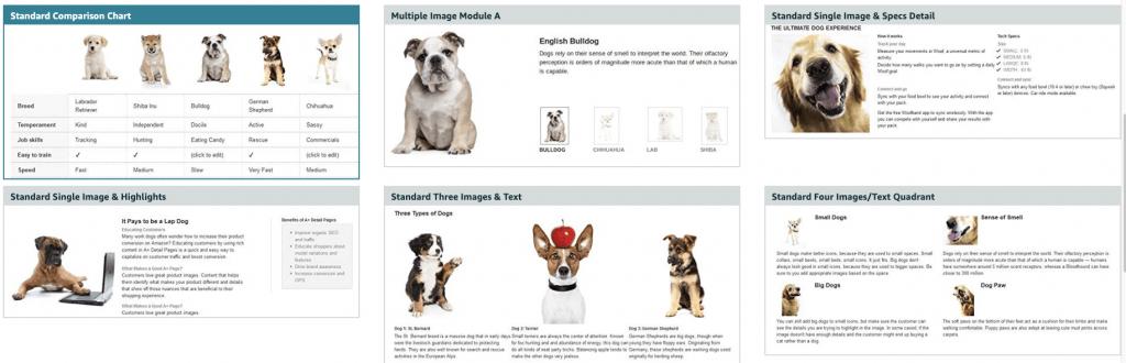 modules amazon a plus content, example Amazon A+ content, enhanced brand content