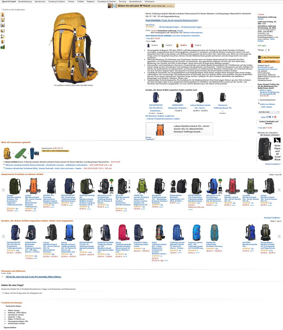 Produktlisting eines Rucksacks ohne A+ Content