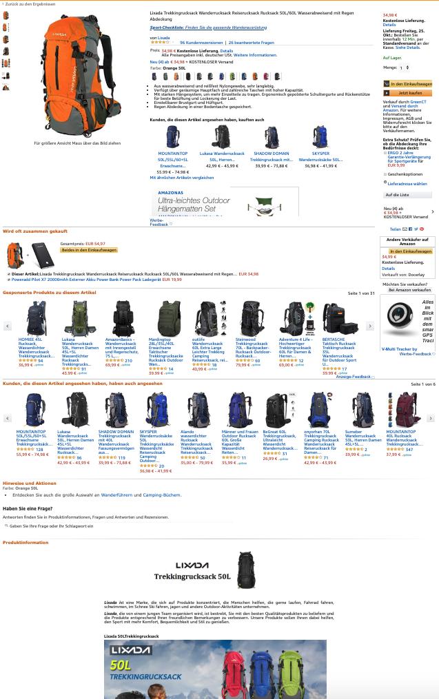Produktlisting eines Rucksacks mit A+ Content